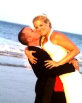 Bride and groom enjoying a light moment in Nags Head, NC