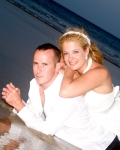 Bride and groom at Coquina Beach, Nags Head